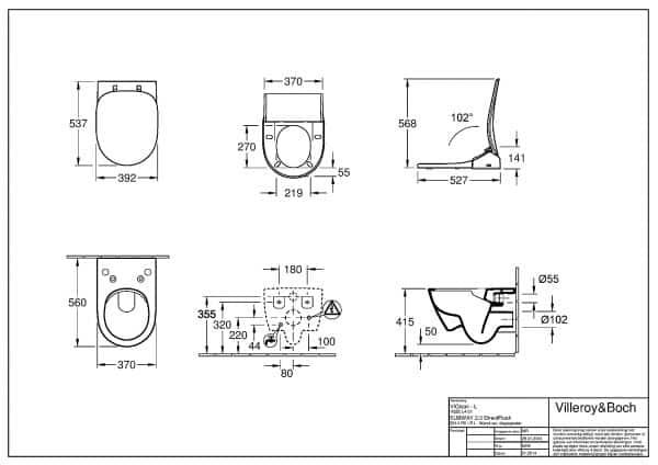 Viclean L technische montage tekening