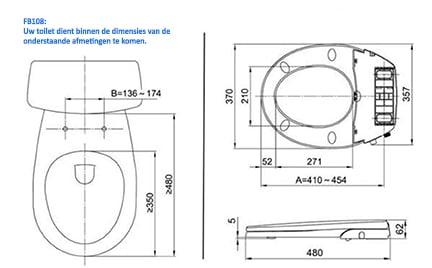 Maro FB108 technische montage tekening douchewc