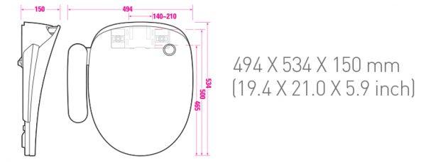 Technische tekening coway bas16 douchewc
