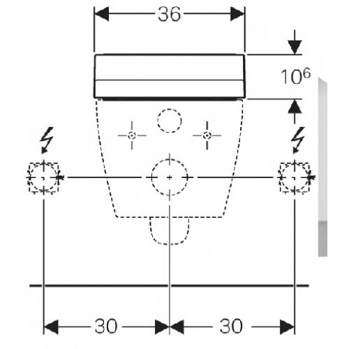 Technische tekening Geberit AquaClean Tuma installatie opzetbril