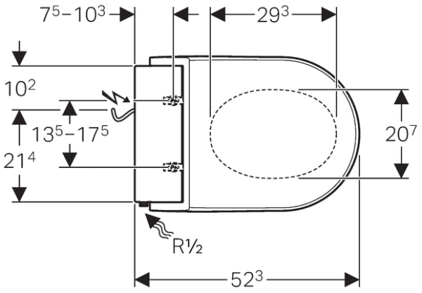 Technische tekening Geberit AquaClean Tuma montage